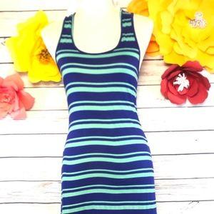 5x25🎁🎁🎁POETRY BLUE & GREEN STRIPE DRESS SIZE M